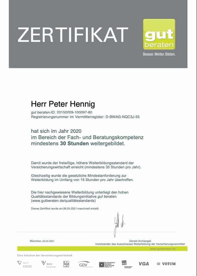 gut beraten Zertifikat 2020